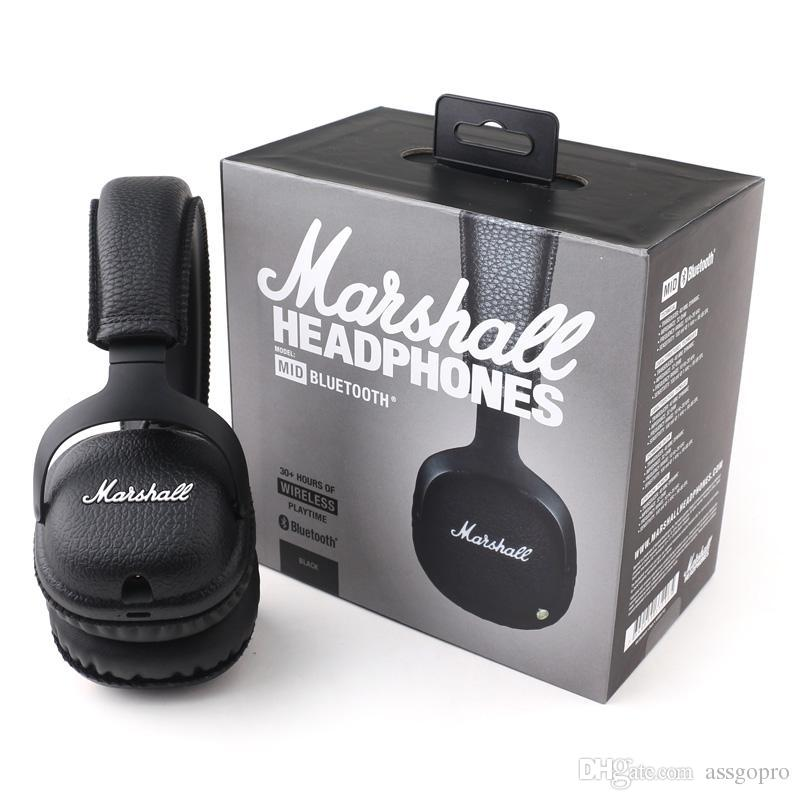 Marshall MID Bluetooth Headphones With Mic Deep Bass DJ Hi-Fi Headset Professional Marshall Wireless Headphones With Retail Package
