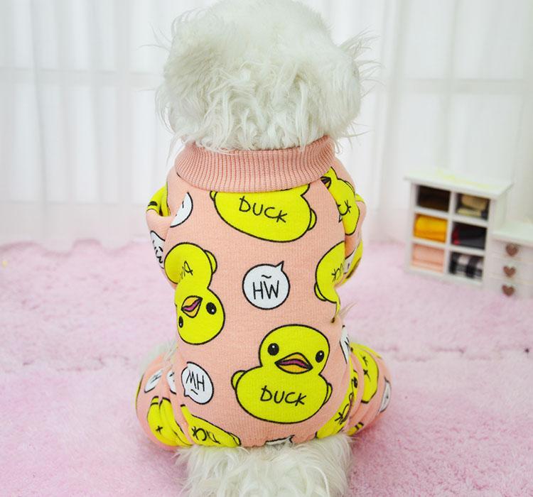 Cute Duck Dog Pajamas Cotton Pet Cat Clothes Shirt Cozy Soft Jumpsuit Fleece Clothing for Dogs 05