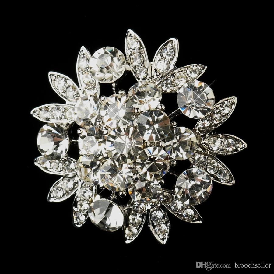 Rhodium Silver Clear Rhinestone Crystal Pretty Flower Gorgeous Bridal Brosch Party Prom Corsage Pins