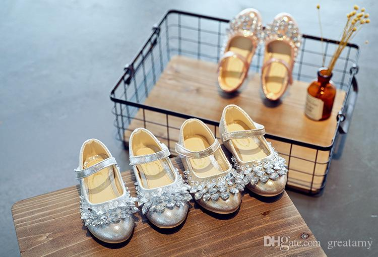 kids shoes baby girl dress up shoes resin stone beauty PU girls fashion casual shoes top quality with the best price