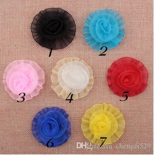 Tulle Mesh Chiffon Rosette Rose Flower Head For Girls Hair Dress/Wedding/Clothes Accessories Artificial Flower YH646