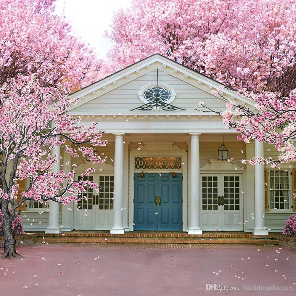 2018 Blooming Pink Flowers Spring Scenic Backdrops Vinyl White House