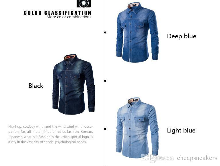 moins cher Jeans Shirt Coton Slim Fit Marque Guys Casual Denim Chemises plus petit que l'Europe / US