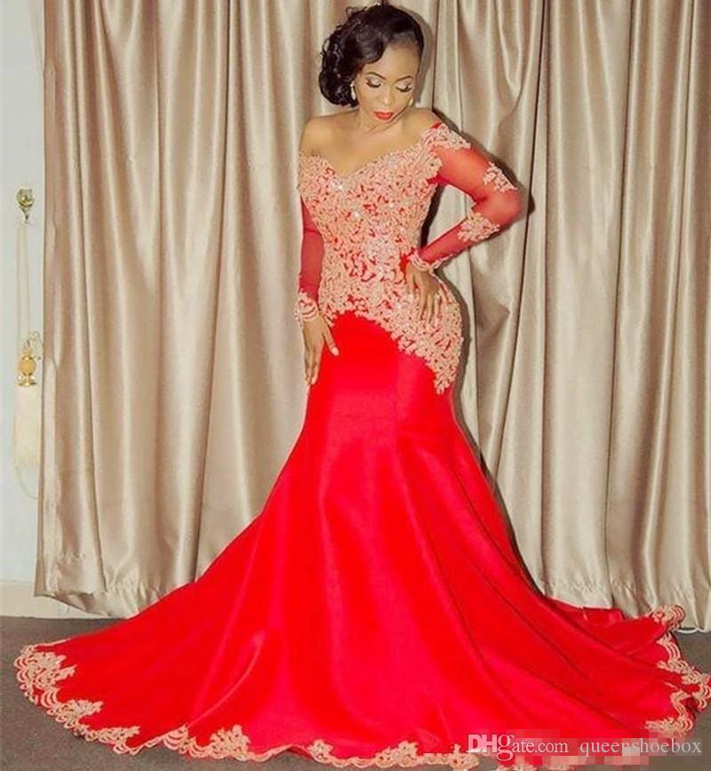 Kırmızı Omuzlar Kapalı Uzun Kollu Gelinlik Modelleri Dantel Aplike Boncuklu Sequins Mermaid Abiye giyim Kollu Sayısı Tren Afrika Parti Elbise