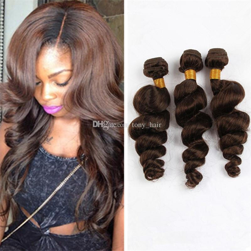 Indian Loose Wave Virgin Hair 3 Bundles Cheap Medium Brown Wavy Human Hair Weaves Brown Hair Extensions 300G