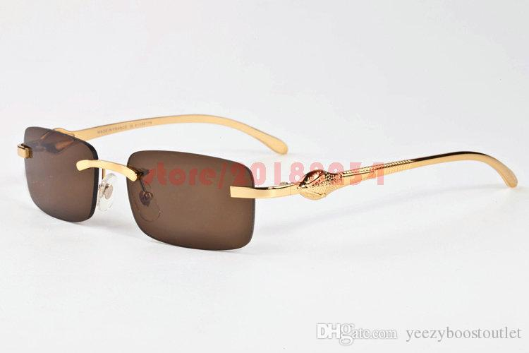 6c294361682 Classic Men Women Rimless Sunglasses Vintage Brand Designer Leopard Head  Gold Meal Frames Optical Eyewear Buffalo Horn Sun Glasses Eyeglasses  Sunglasses Hut ...