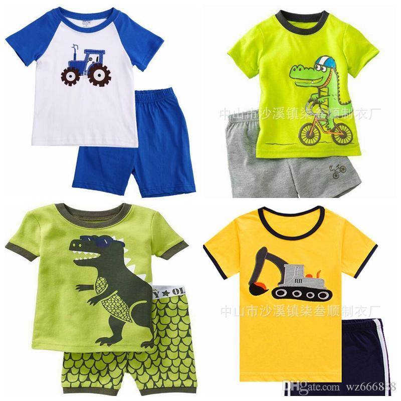 615f81984 2017 Summer Kids Boys Sleepwear Sets For Children s Pyjama Sets Car Printed  Short Sleeve Tops+Pants 2pcs Homewear Nightwear Suit