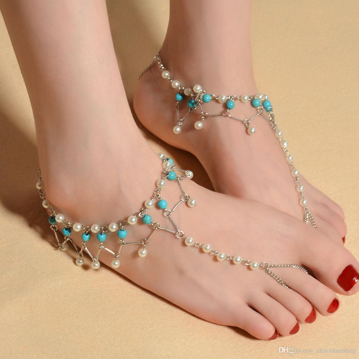 Beach Foot Jewelry Ankle Bracelet Pearl Tassel Barefoot Sandal Anklet Chain