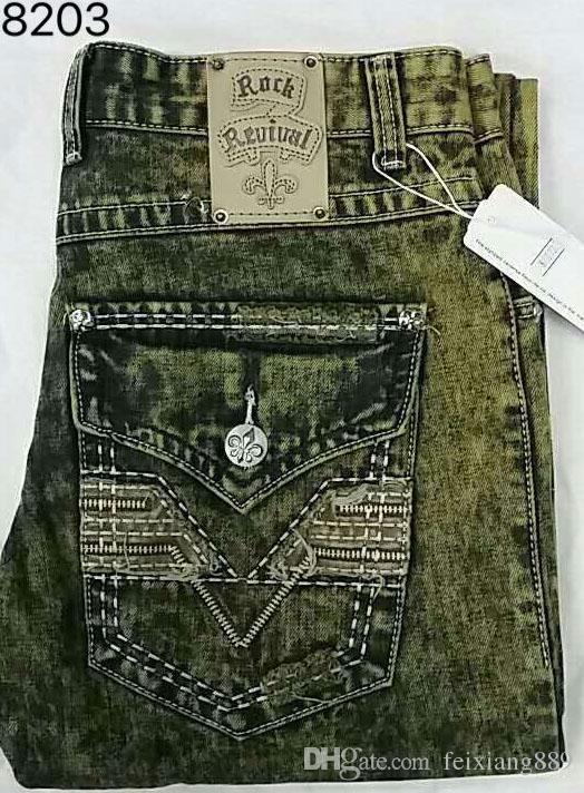 Frete Grátis Mens Robin Rock Revival Jeans Cristal Studs Denim Calças Designer de Calças dos homens tamanho 30-42 Novo