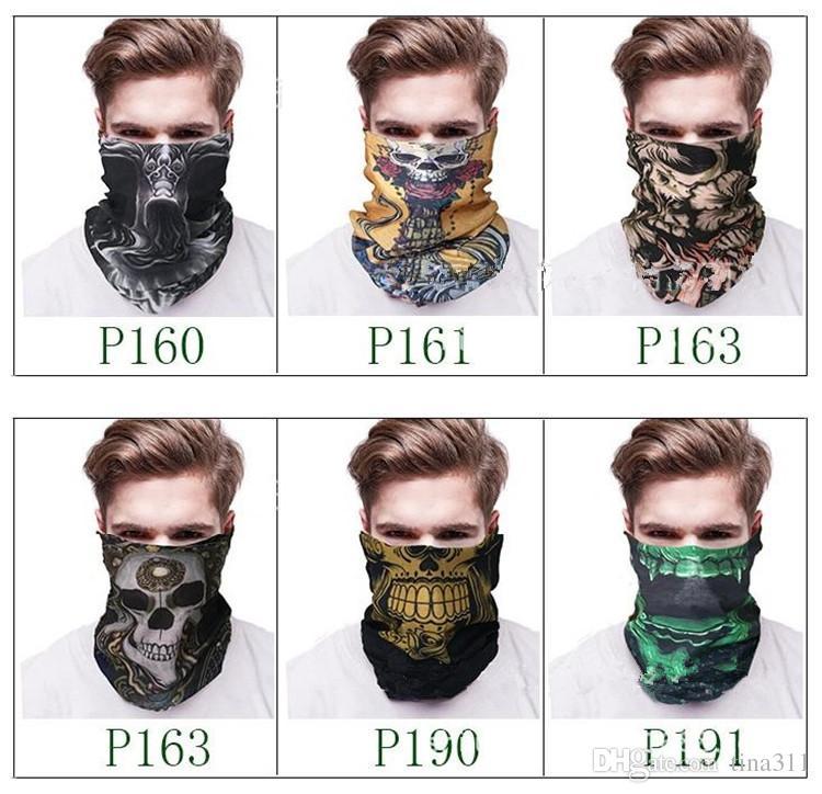 New Magic scarf collar absorbent mask outdoor sports headbands seamless face skull scarf male Bandanas C019