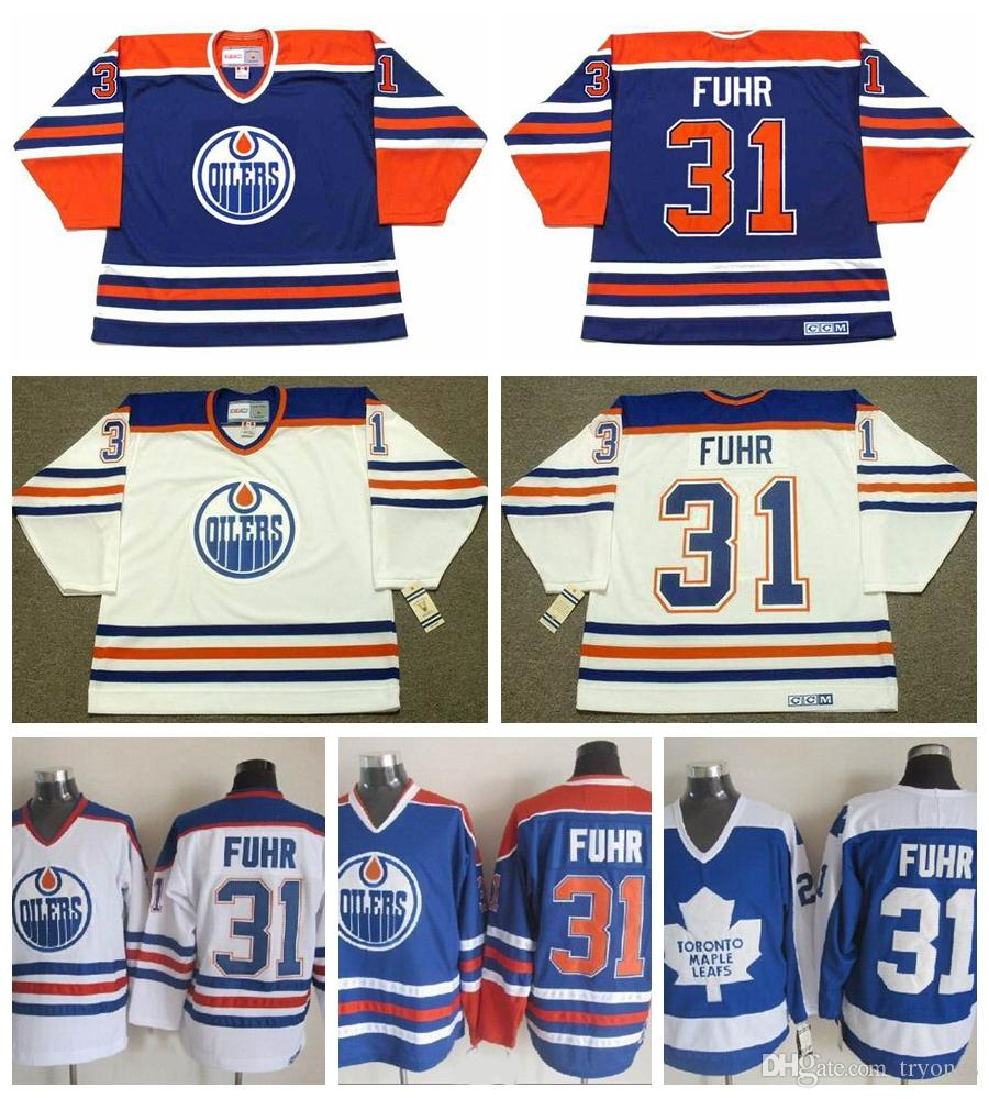 9ddd36741 2019 Edmonton Oilers Grant Fuhr Hockey Jerseys 1987 CCM Vintage 31 Grant  Fuhr Jersey Toronto Maple Leafs Stitched Logo Cheap From Tryones