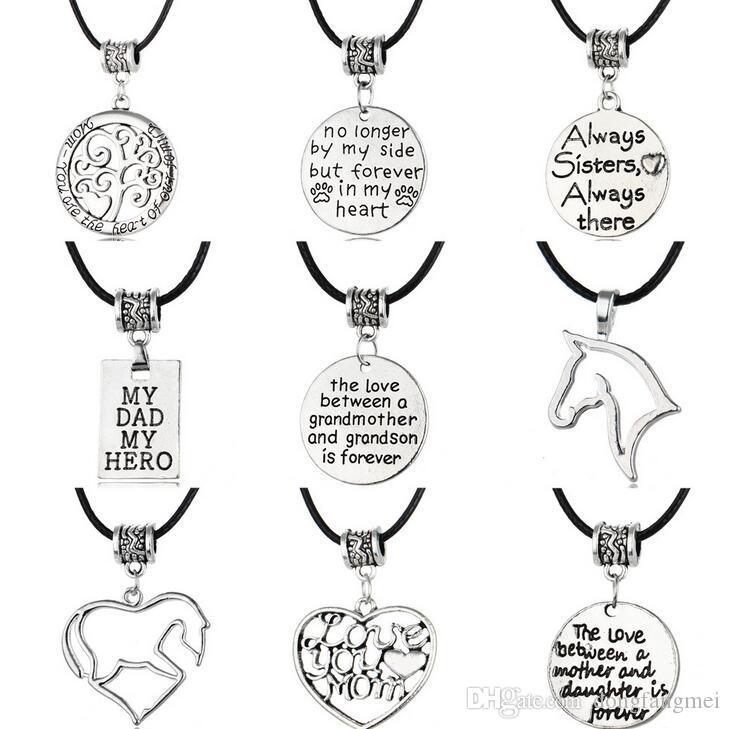 Лучший подарок готический папа мама мода простой семья кожаный кулон ожерелье Рождественский подарок WFN021 с цепью заказ смешивания 20 штук много