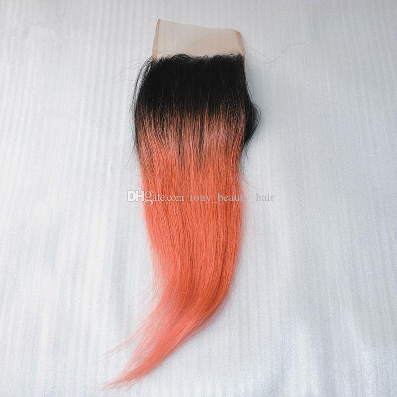 Top Quality 1B/Rose Gold Ombre Brazilian Silk Straight Two Tone Virgin Human Hair 3 Bundles With 4x4 Lace Top Closure