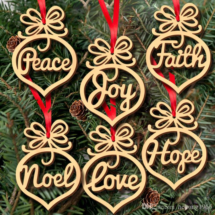 hollow out design pendants arts christmas tree english letter holiday decorations wooden carved ornament hot sale 5jm b r party decoration supplies online - Christmas Holiday Decorating Themes