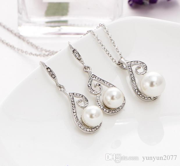 Sale Fine Accessories Jewelry sets Pearls Rhinestones Bridal Wedding Chokers Chains Necklaces Notes Pendants Drop Dangle Earrings For Women
