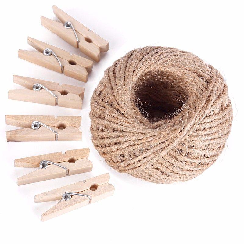 Portáteis / Clips Set New 50M Mini naturais de roupa de madeira Pin Foto Papel Peg Clothespin Artesanato