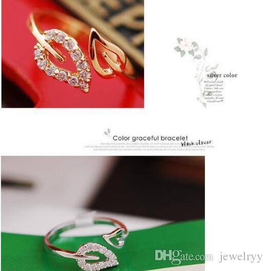 Unique Gold Silver Plated Finger Ring Shining Crystal Love Heart Leaf Rings Gilrs Women party Jewelry