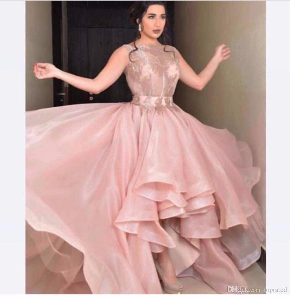 5be0399c26de New Ball Gown Women Evening Dresses Short Front Long Back Organza Lace Boat  Neck Sleeveless 2017 Plus Size Prom Dress Gowns For Pageant Long Sleeved  Evening ...