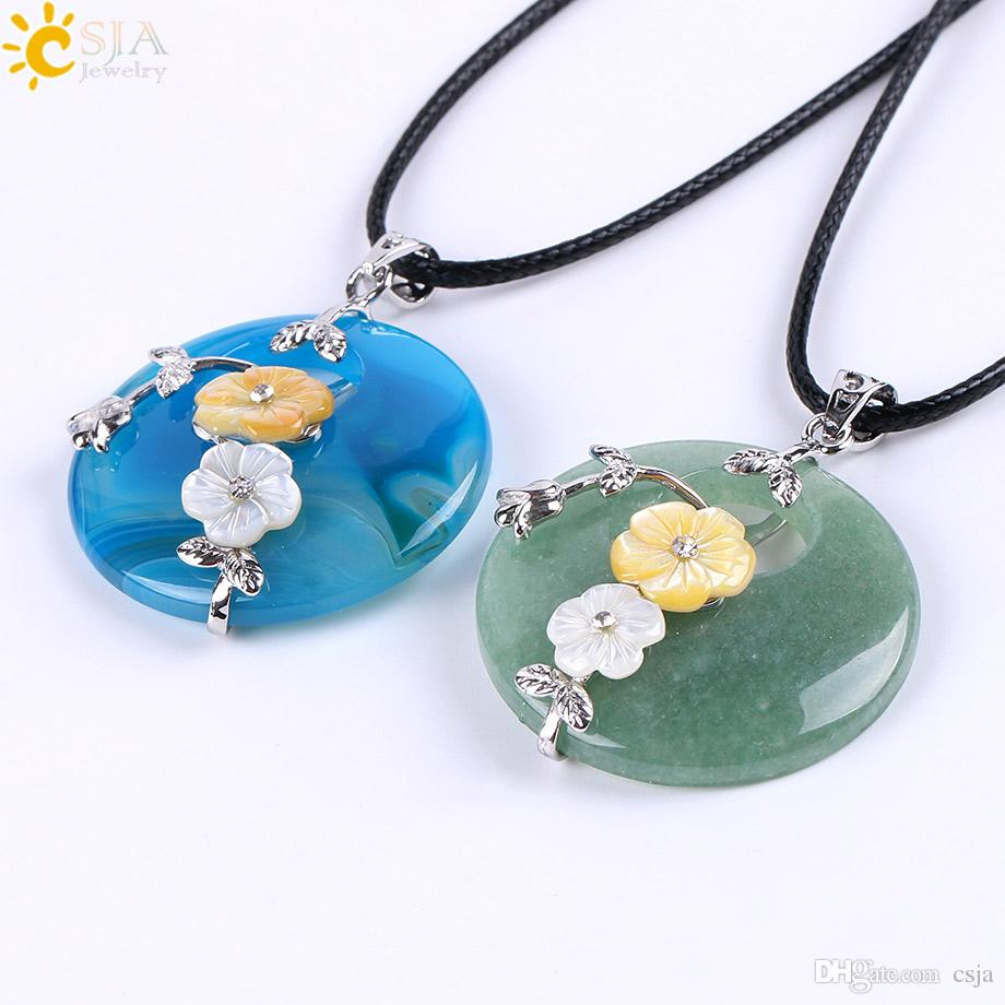 CSJA Reiki Natural Hollow Round Jade Agate Healing Crystal Gemstone Pendant Rope Necklace Mother of Pearl Shell Flower Charms Jewelry E688 A