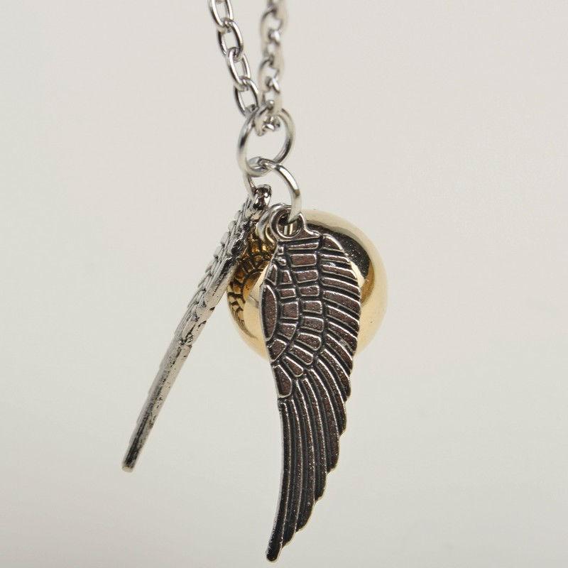 Nuevo estilo Alas de Plata Snitch Collar de Oro colgante de oro alas snitch Collar de oro al por mayor envío gratis