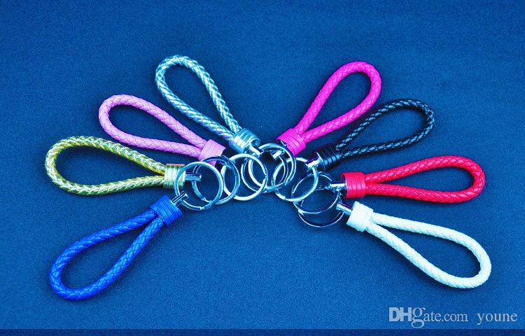 20 pçs / lote criativo knit mão tricô amantes chaveiro chaveiro de couro couro corda chave do carro pequenos presentes multicoloridos misturados