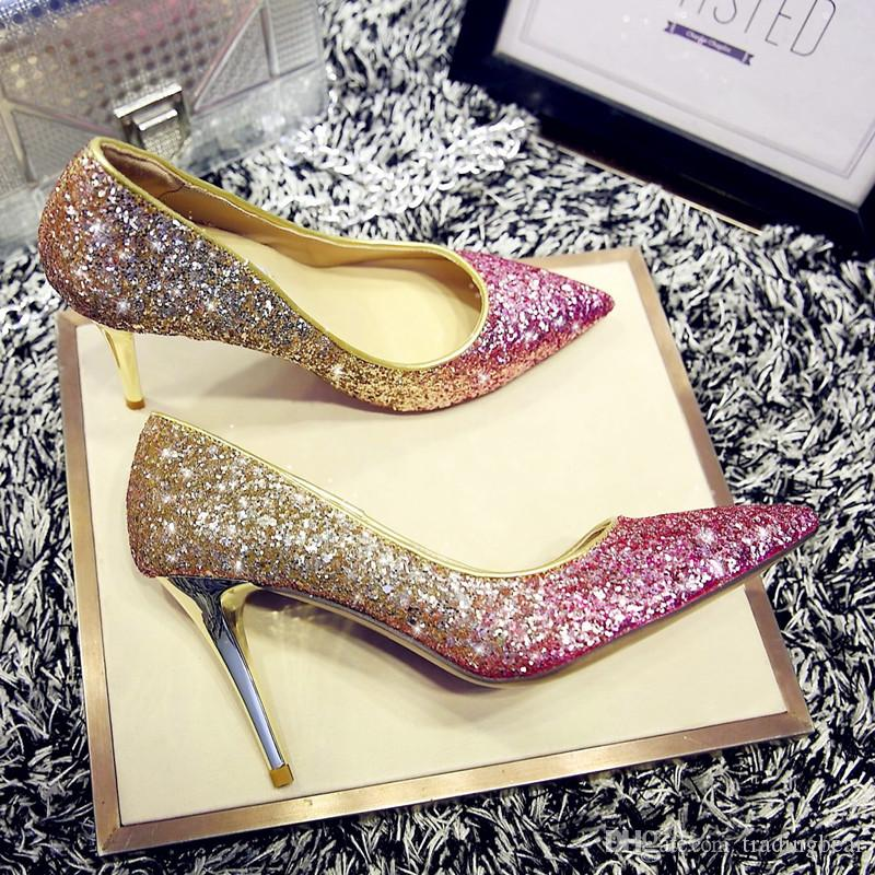 princess party events glitter sequined wedding shoes real leather shallow mouth thin high heels pointed shoes 8 colors extra size cheap sale outlet locations sale low price sale get to buy great deals buy cheap looking for Pw93R6Q