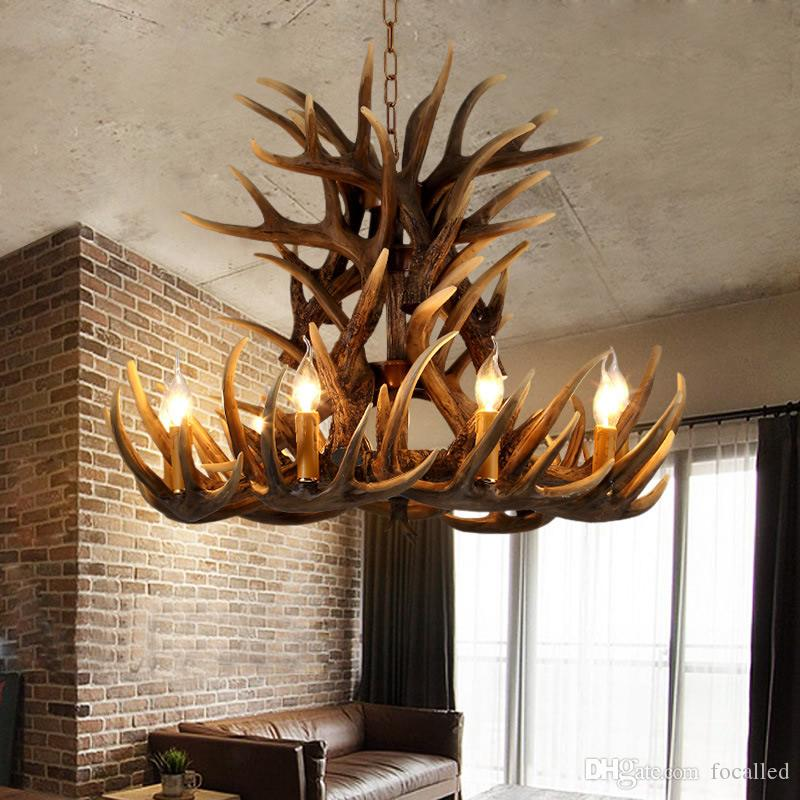 New 6 Head+3/9 Hesd+3/9 Hesd+6/9 Hesd+9 Candle Antler Chandelier American Retro Resin Deer Horn Lamps Home Decoration Lighting
