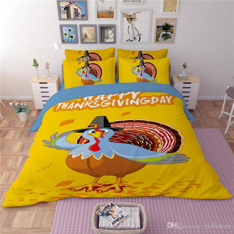 Happy Thankgiving Bedding Set Duvet Cover Single Twin Full Queen king Size Pumpkin Bed Cover Turkey Maple Leaves Bedspread Yellow Coverlet