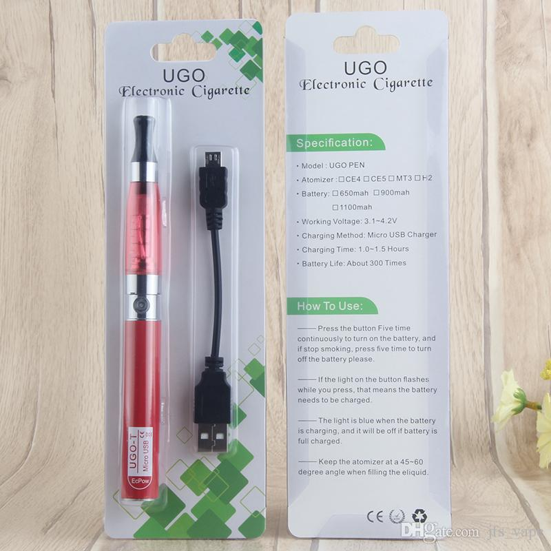 eGo T CE4 Single Vaporizer Blister Pack Starter Electronic Cigarette Kits with 650mAh eGo Micro USB Evod Pass Through Battery Charge by side