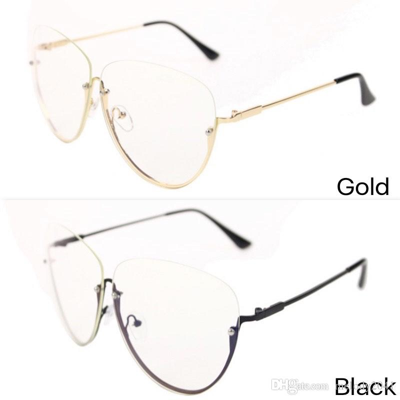 80f2485591 2017 New Fashion Eyeglasses Frame Women Tide Personality Metal Half-Rimmed  Glasses Decorate Frame Cool Round Frame Gold And Black Eyeglasses Frame  Optical ...