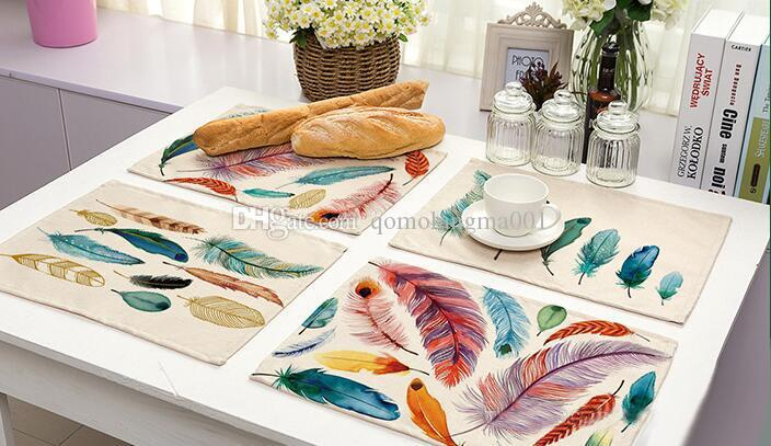 Vintage useful placemats for table Colorful feathers bowl cup drinks mat Tableware drink coasters cup mat