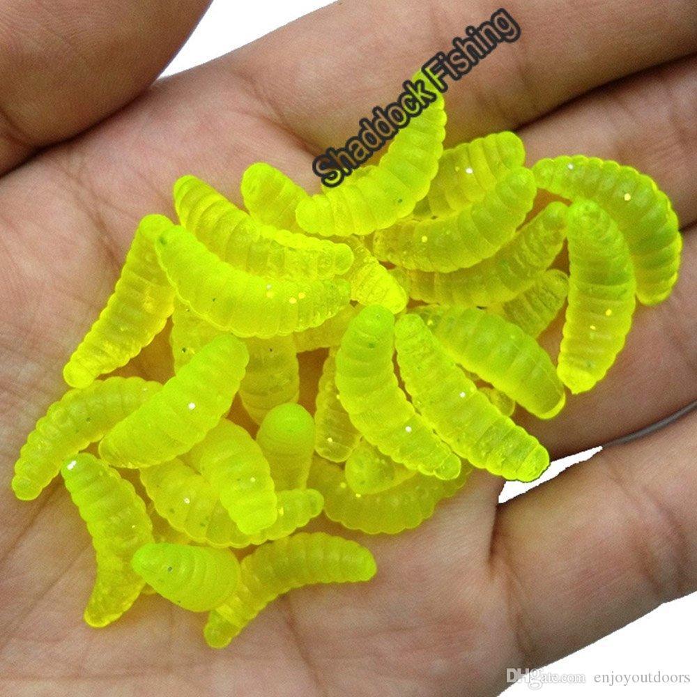 100 stücke Künstliche kunststoff 2,2 cm Fischköder Maggot Grub Gummiköder Worms Fischköder für Karpfenfischen