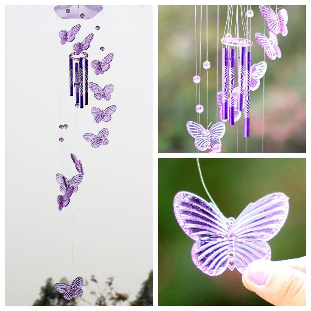 2016 New Creative Crystal Butterfly Wind Chime Bell Ornament Living ...