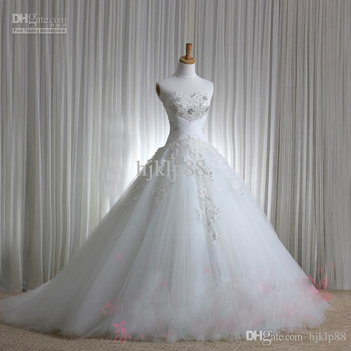 New Luxury Sexy Sweetheart Strapless Applique Beaded Chapel train Tulle Wedding Dresses/Wedding dress Bridal Gowns Dress Lace up