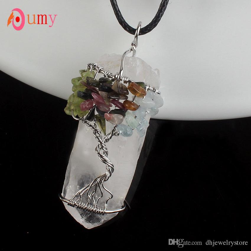Wholesale Unique Irregular Shape Natural Rock Crystal Wire Wrapped Mixed Quartz Stone Pendant Charm Jewelry