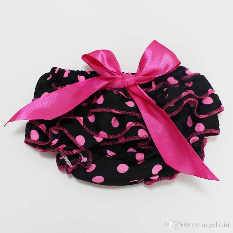 Bebek Kızlar Yenidoğan Bebek Iç Çamaşırı Siyah Polka Dots Saten Şort Pantolon Fırfır Bloomers