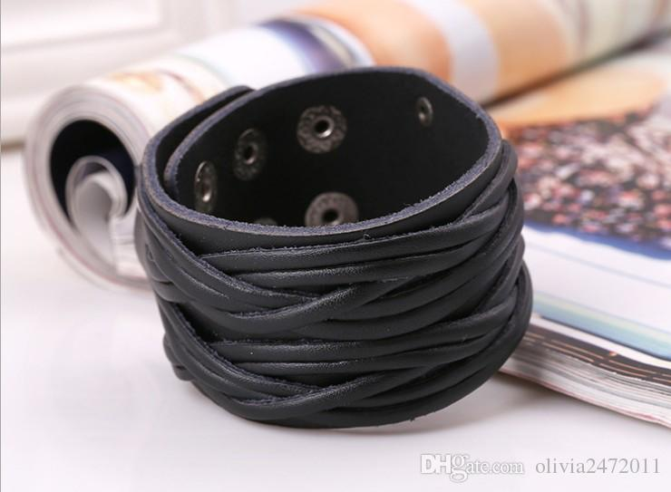 Black White Brown Leather Bracelet With Alloy Buckle Adjustable Fashion Women Men Bracelets Jewelry Punk Jewelry SH