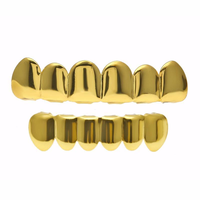 Cobre personalizado Fit chapado en oro Hip Hop joyería dientes Grillz Caps parrillas inferiores superiores Set Tooth Socket para Halloween Christmas Party Gift