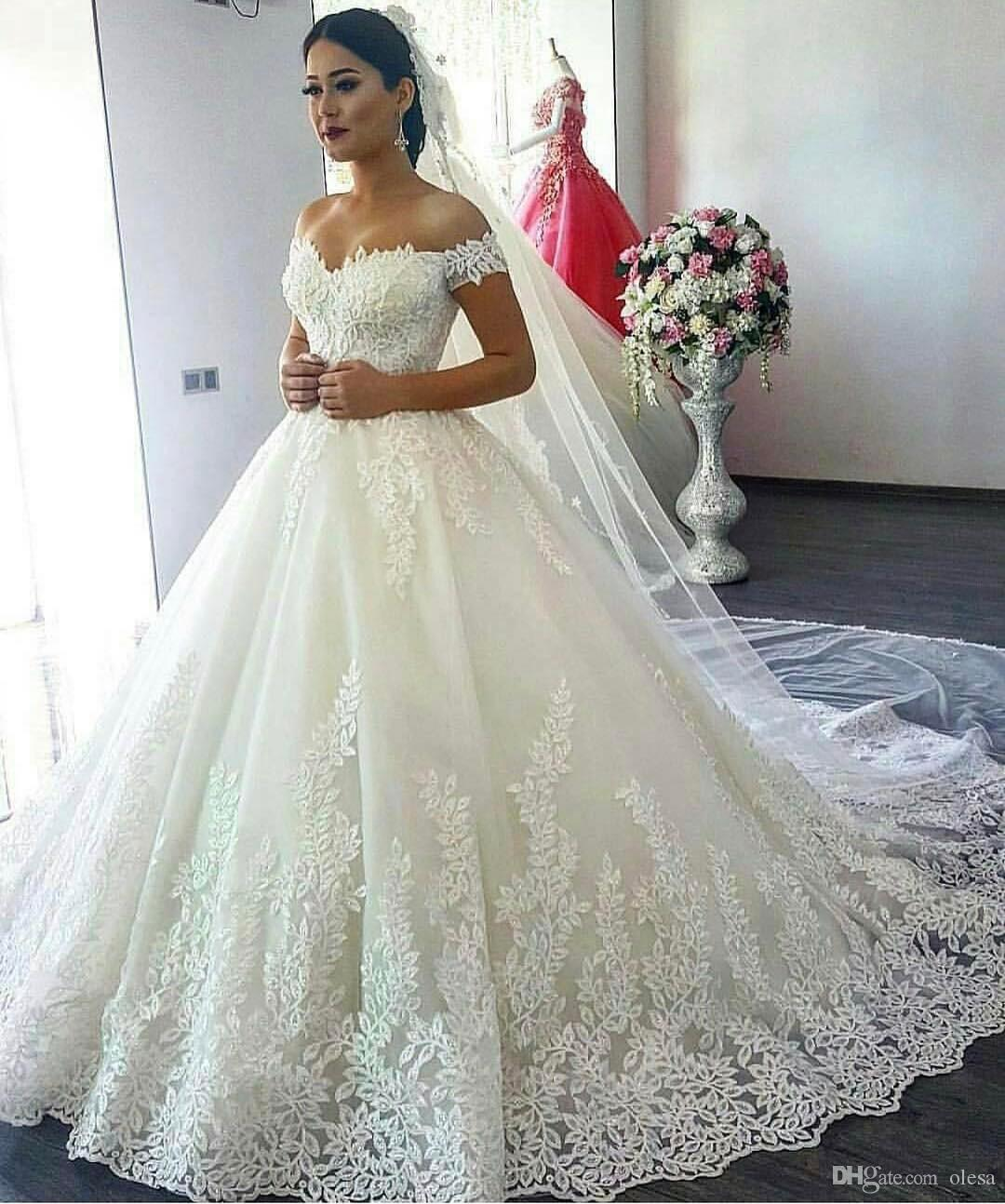 Beautiful Arabic Wedding Dresses 2017 Designers Off Shoulder Cap ...