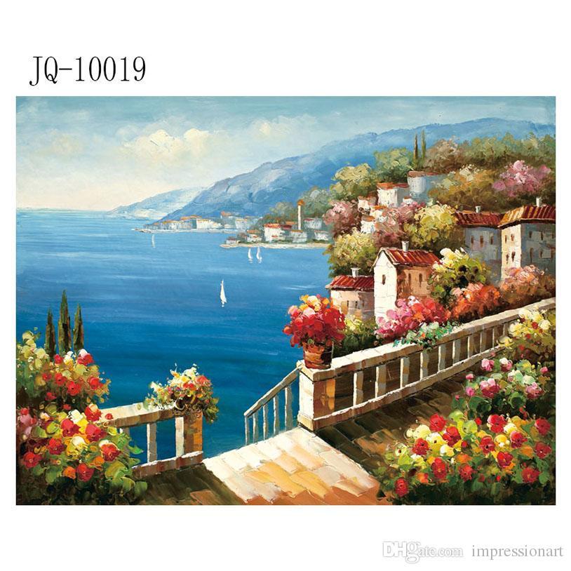 Satın Al Bahçe Manzarası Saksı üzerinde çiçek Akdeniz Tuval Boyama