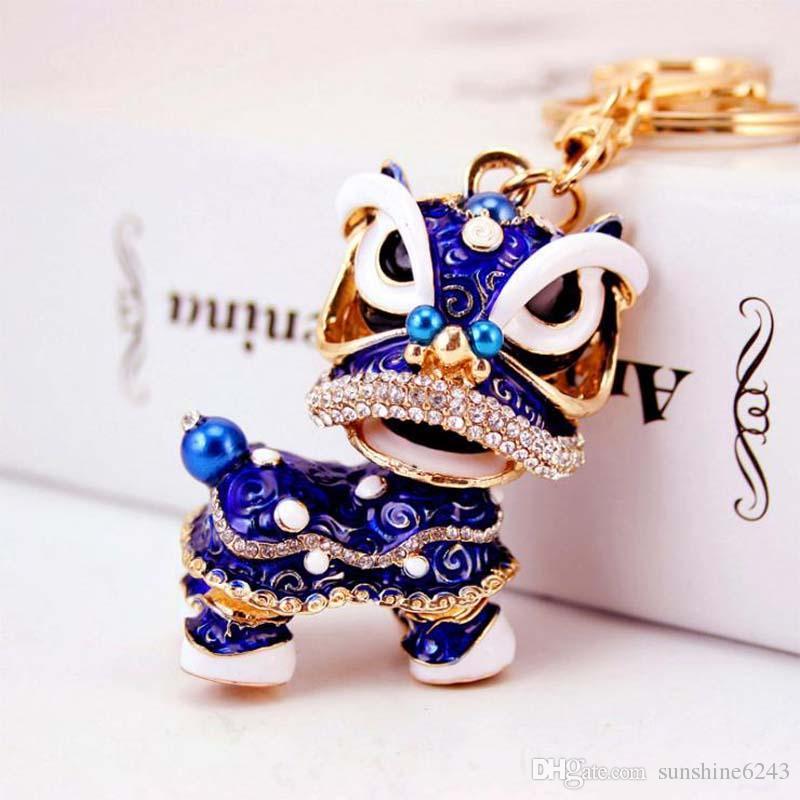 Lovely Chinese style lion dance keychain ancient mascot key chains fashion crystal animal keyring enamel key ring holder pendant