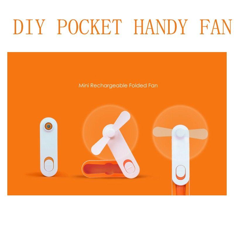 New Simple USB Rechargeable folded Mini fan Handle DIY Strong Wind Portable USB Cooling fan Pocket Mini Folding fans for Student Kids gadget