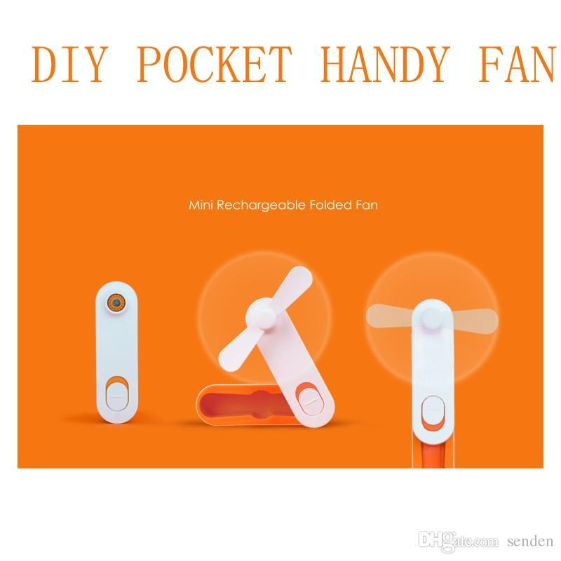 Yeni Basit USB Şarj Edilebilir katlanmış Mini fan Kolu DIY Güçlü Rüzgar Taşınabilir USB Soğutma fanı Cep Mini Katlama hayranları Öğrenci Çocuklar için gadget