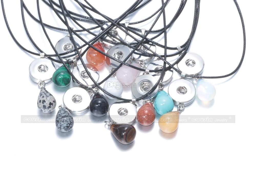 NOOSA Chunks 18mm Ingwer Druckknopf Schmuck Knopf Charms Naturkristall Stein Anhänger Halskette mit schwarzem Leder Halskette für Frauen