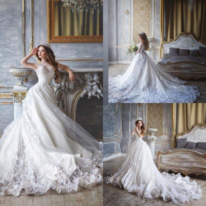 Discount Lace Ball Gown Wedding Dresses Beaded Art Neck Monique ...