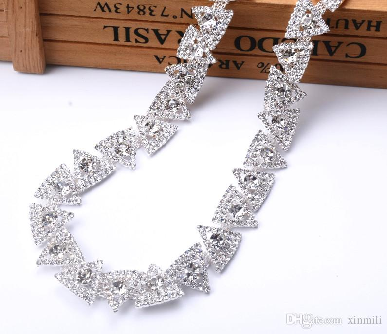 1yards Triangle Rhinestones Trim Cup Silver Chain Bridal Dress Applique  Glass Stone Decoration for Belt Sash Bags Rhinestone Chain Triangle Rhinestone  Trim ... 720ba7bcd423