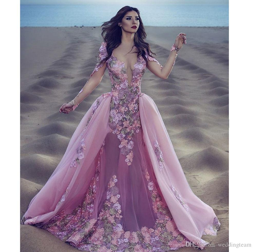 Prom Dress With Detachable Train: Designer Pink With Detachable Train Mermaid Prom Dresses