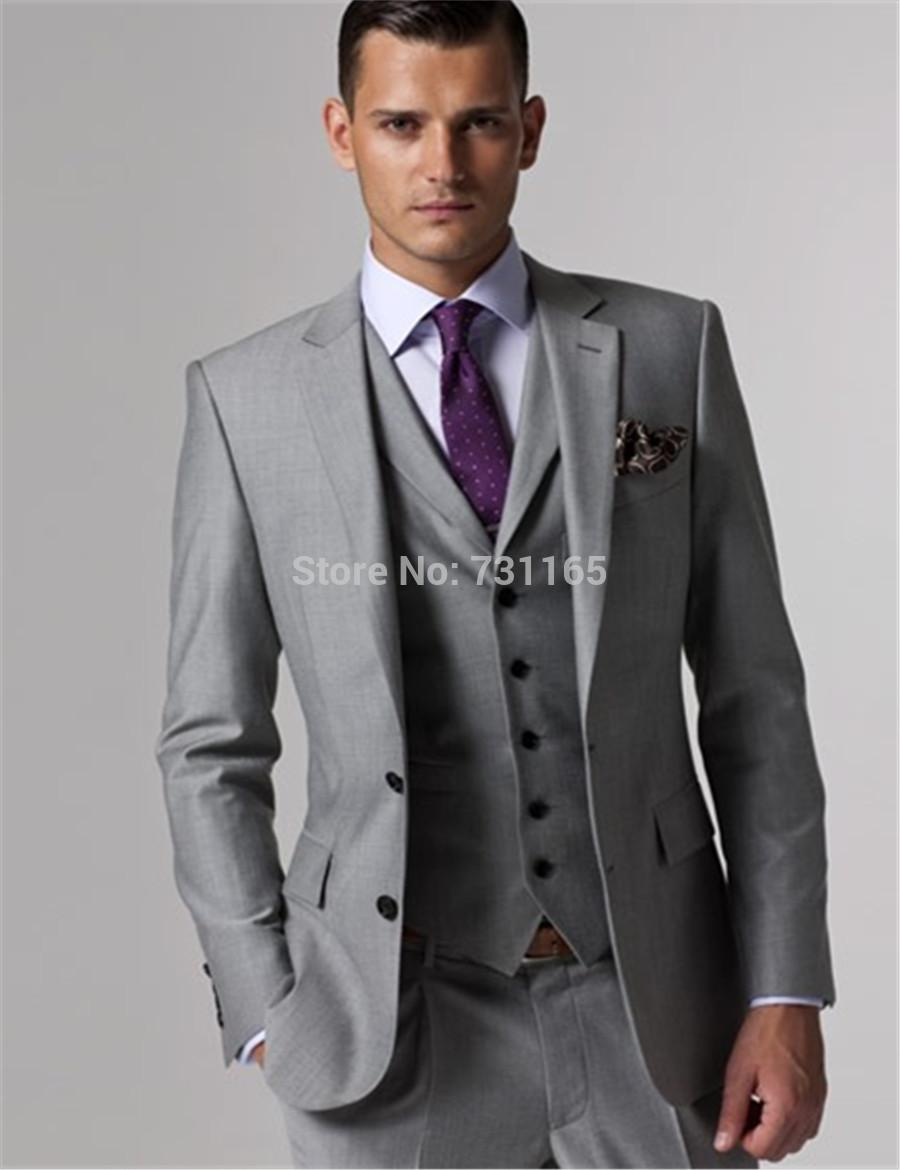 2017 Wholesale Custom Made Wedding Tuxedo Grey Suits Retro Groom ...