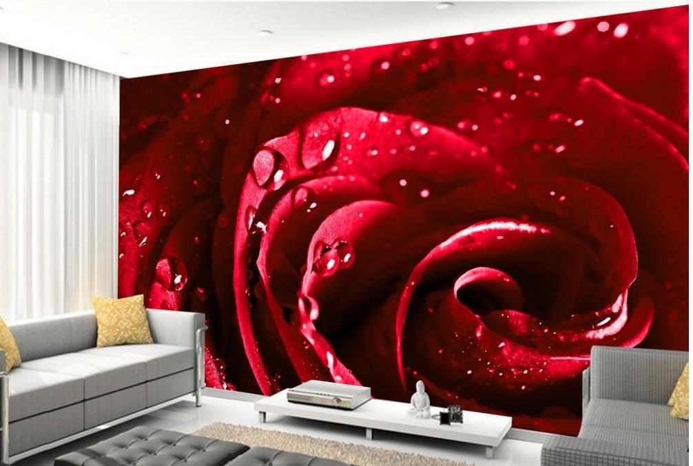 Hermosas gotas de agua roja rosas mural papel pintado 3d papeles de pared 3d para telón de fondo tv