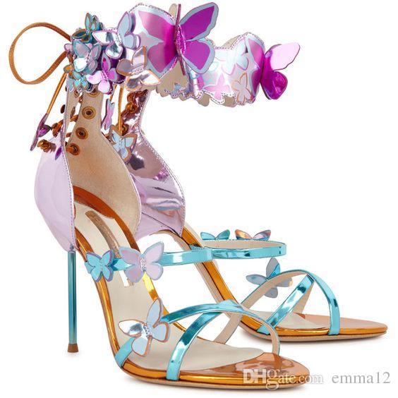 2017 Farfalle in pelle decorata Sandali donna cinturino alla caviglia Lace Up Thin scarpe tacchi alti partito donna viola / nero taglia 34-42